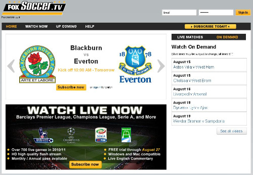 foxsoccertv screenshot Fox Relaunches FoxSoccer.tv In Time for EPL Season